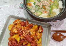 안주 세트 명란순두부탕과 부대볶음(저녁메뉴로도 굿!)