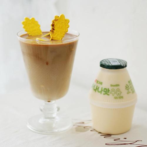 달콤한 빙그레 바나나맛 단지 우유와 카누로 만드는 초간단 바나나 우유 라떼 만들기 | 나만의 쉬운 홈카페 레시피