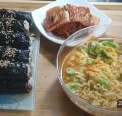 남편을 위한 뚝딱 요리, 꼬마김밥과 라면