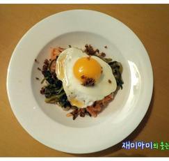 열무보리비빔밥:부추무생채가 들어가 더 맛있어요