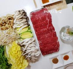 샤브샤브 재료, 육수, 된장소스, 레몬폰즈소스까지~