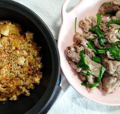 대패목살부추볶음과 채소저염강된장(코로나극복/냉파/저염/무수분)