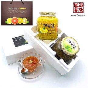 프리미엄 과일청 선물세트(레몬청 + 매실청)
