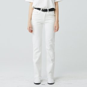 WOMEN STRAIGHT CUT WASHED JEANS IVORY