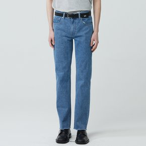 WOMEN STRAIGHT CUT WASHED JEANS BLUE