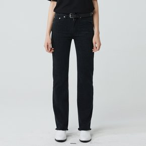 WOMEN STRAIGHT CUT WASHED JEANS BLACK