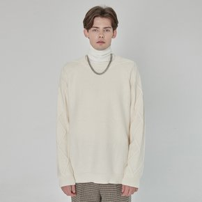WOMEN RAGLAN CABLE COMBINATION SWEATER IVORY