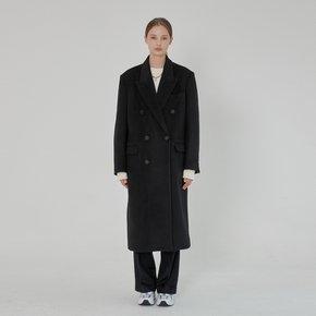 WOMEN DOUBLE BREASTED WOOL LONG COAT BLACK